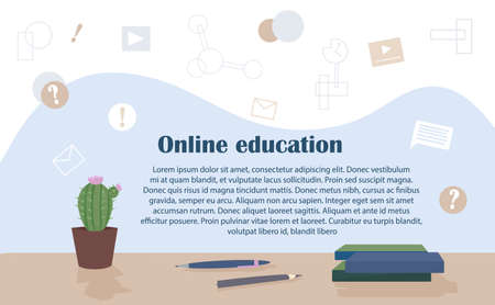 Template web page with the concept of distance education. Home learning online during quarantine. Provision of services and advice in the field of education.