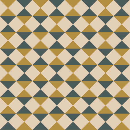 Seamless pattern in trend colors. With abstract figures from squares, triangles and rhombuses. Graphic modern print. Simple vector texture.
