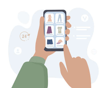 Hands with smartphone make purchases online through mobile applications. The man makes an order in an online store, selects things. Safety shopping. Vector flat Vector Illustratie