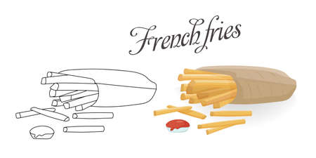 Fried fries with ketchup. Light snack. Vector color illustration and manual sketch for menu, postcard or page coloring.