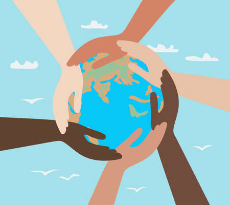 hands of people with different colors of skin, holding the planet Earth. concept of protection of peace and life, equality of race and tolerance. Intercultural relations and political commutation Ilustração