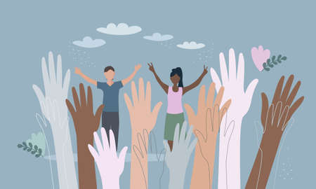 the hands of people of different nationalities. A united community of people of skin color. Cultural and ethnic diversity. the concept of friendship and peace between peoples Vector Illustration
