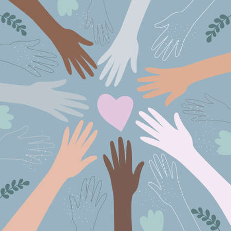 the hands of people of different nationalities. A united community of people of skin color. Cultural and ethnic diversity. the concept of friendship and peace between peoples