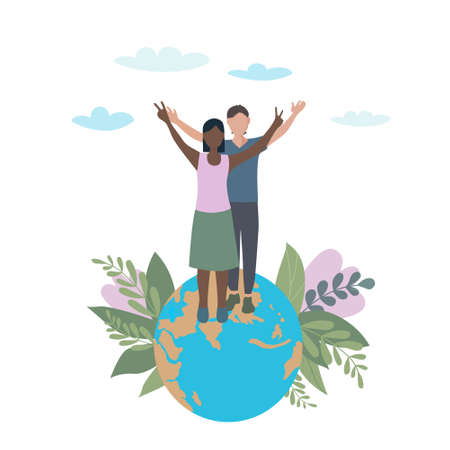 A pair of lovers with their hands raised. Standing on the planet earth, a symbol of victory and peace. Interracial relations and tolerance. Family Day. Conservation of nature and ecology. Flat vector illustration.
