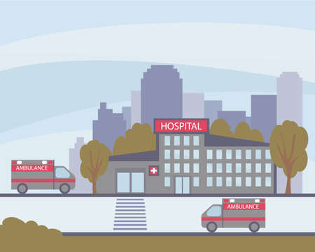 The hospital building from the outside. Ambulances carrying patients. The concept of medical emergency and health care. Health center. Vector flat illustration.