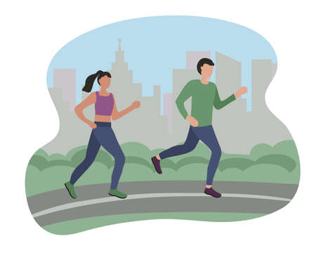 Man and woman running in the city. Sports training on the street. Runners on the move. Marathon and long runs in the street. running and fitness every day. comfortable athletic clothing for running.
