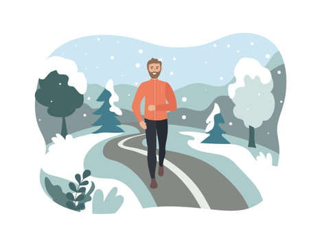 man running in a winter park. Sports training outside in the snow. Runner on the move. Marathon and long runs outside. running and fitness every day in all weathers. comfortable sportswear.