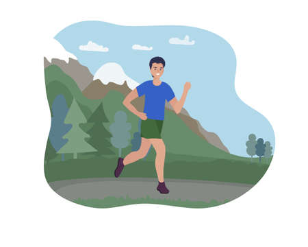 A man runs outside in the mountains. Sports training in the street. A runner on the move. Marathon and long runs outside. running and fitness every day. comfortable sportswear.