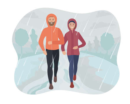 Man and woman running in the park in the rain and snow. Sports training on the street. Runners in motion. Marathon and long runs outside. running and fitness every day in all weathers. vector flat