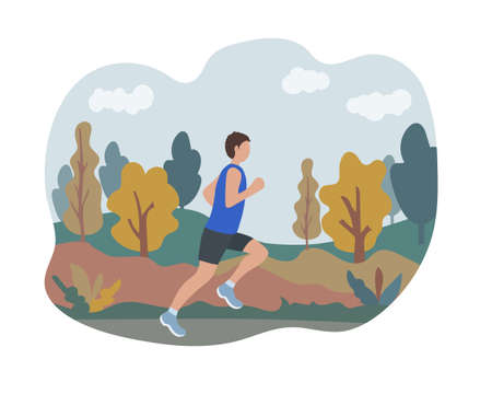 A man runs in an autumn park. Sports training on the street. Runner in motion. Marathon and long runs outside. running and fitness every day in all weathers. comfortable athletic clothing for running.