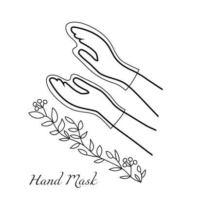 Mask in the form of gloves for hand skin care. Vector illustration of beautiful women's hands and a graceful tree branch with leaves. Cosmetic spa care at home