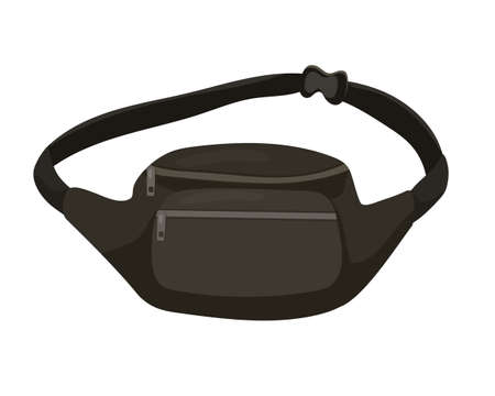 Vector illustration of fanny pack, waist bag. Isolated image of trendy accessory on white background. Street fashion.