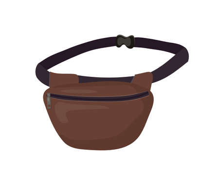 Vector illustration of fanny pack, waist bag. Isolated image of trendy accessory on white background. Street fashion. Vektorové ilustrace