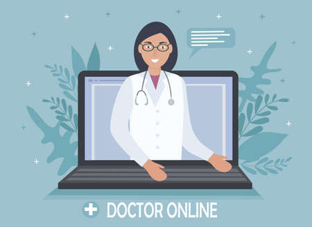 A doctor with a stethoscope on a laptop screen talks to a patient online. Medical consultations, exams, treatment, services, health care, conference online. for clinic website, app. Vector flat Ilustrace
