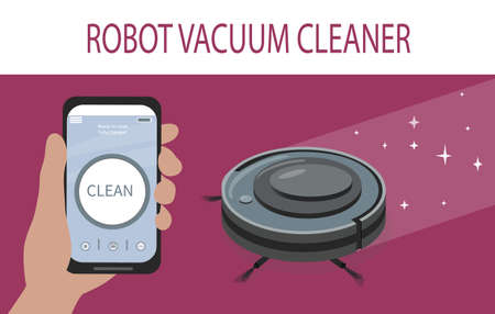 A smartphone app to control the robot vacuum cleaner. Modern smart home appliances for cleaning apartments. Smart appliances