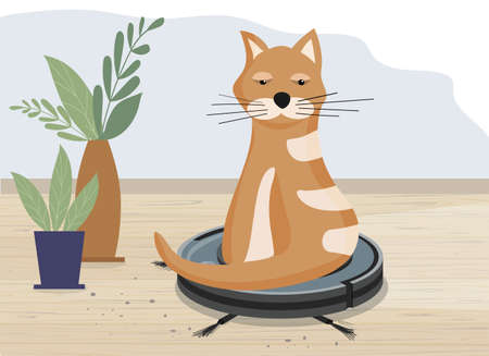 Smart robot vacuum cleaner. Modern intelligent household appliances for cleaning the apartment. Cat sitting on a working vacuum cleaner, and riding on it. Cleaning and home and favorite cute pets