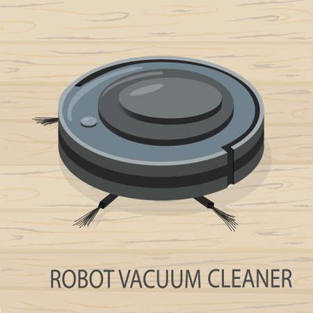 Robot vacuum cleaner. Modern intelligent household appliances for cleaning the apartment. Smart technology. washes and cleans the floor. vector illustration of wooden floor