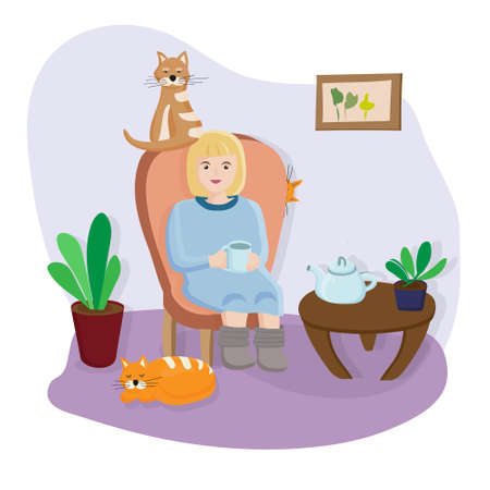 A woman sits at home in a chair with her pets. Time for tea. Find the cat who is hiding. Count the cats. Cozy living room interior with flowers and a picture on the wall. animals best friends. vector Stock Illustratie