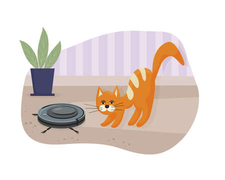 Wireless robot vacuum cleaner is an indispensable helper in the house. The domestic cat plays with vacuum cleaner. Modern smart home appliances for cleaning apartments. Flat vector illustration