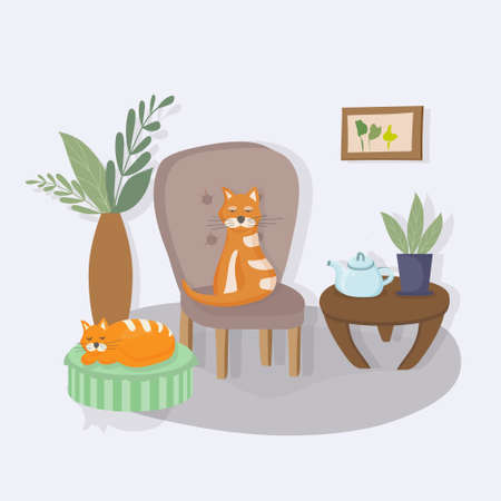 Cozy interior of the living room in the house. Cat sitting on an armchair, another sleeping on a soft pouffe. Apartment decorated in Scandinavian style hygge. Plants in pots. Favorite pets. Vector