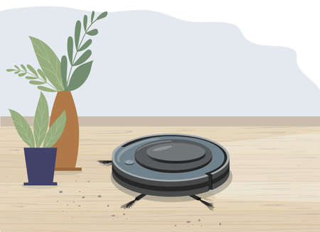 Smart robot vacuum cleaner in a modern living room. Wooden flooring, laminate flooring and potted plants. Modern smart home appliances for cleaning apartments. vector flat