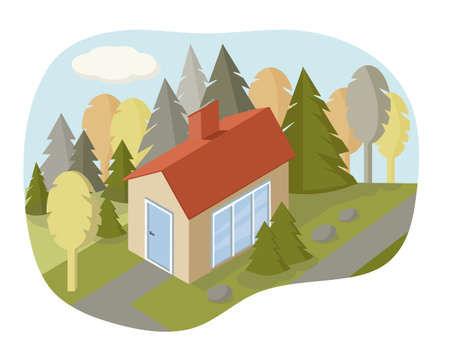 Vector isometric house icon. Illustration of a rustic family house in the woods. Lots of trees around. Country life. Environmentally friendly and away from civilization. Vetores