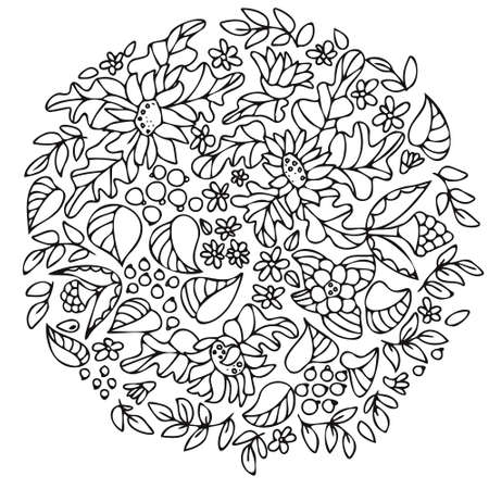 Sunflowers, wildflowers, leaves and berries. Botanical composition. Vector hand drawing, line art. Coloring page for adults and children. Floral ornaments for design.