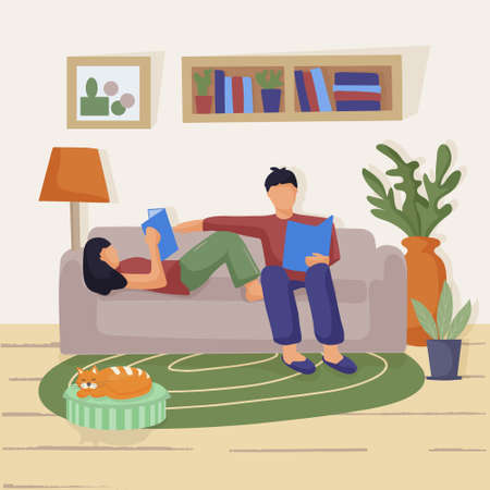 A young couple sitting on the couch in the living room. They are reading paper books. Love and relationships. Learning at home, family activities together. vector flat illustration.