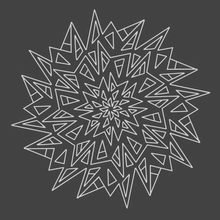 Circular element for coloring book. Different shapes in the form of a mosaic. Mandala. Vector hand drawn, line art.
