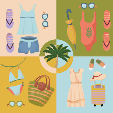 Summer clothing sets. Beach Accessories. Fashionable outfit for tourism. Vector items and things for vacation and travel. Flat design style on four multicolor banners. Ilustração Vetorial