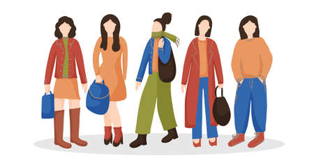 Modern women standing together. Group of characters in casual fashion clothes, isolated against a white background. Street Fashion. Meeting of girlfriends. Models in ordinary life. Vector flat. Vektorgrafik