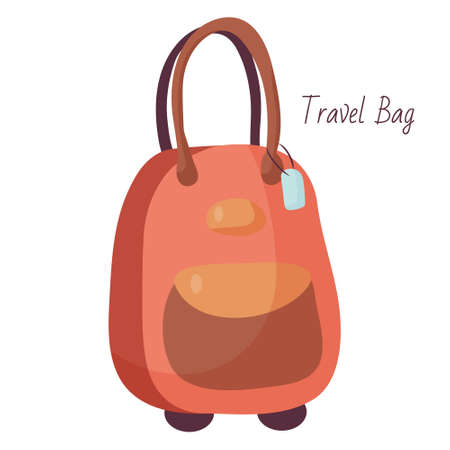 Comfortable travel suitcase on wheels. Vector object for relaxing and carrying things. Casual style. Fashion accessory. Simple flat illustration.