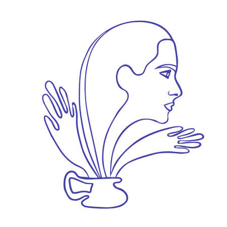 Abstract drawing line art. Woman getting out of a jug. The concept of a complex relationship, the suppression of personality. Unhappy person with psychological problems. vector. Vector Illustratie