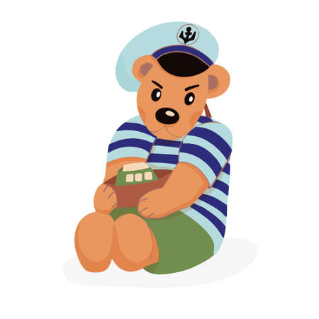 Character Teddy Bear in a striped sea turtleneck and cap with an anchor. In the hands of the toy boat. Cute animal. Vector cartoon illustration.