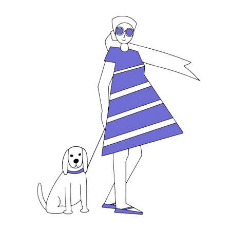 A girl in a dress and headscarf walking her dog. Cartoon cute characters. Linear vector illustration. love for pets. Carefree summer time.