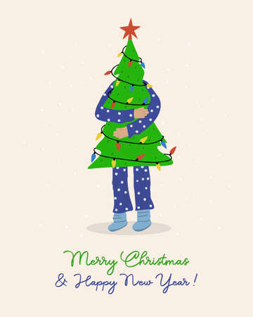Merry Christmas greeting card. Man holding a Christmas tree in his hands. Vector holiday design template.