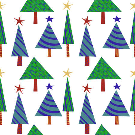 Seamless New Year's Eve pattern of green stylized decorated Christmas trees. Vector holiday background for packaging, paper and textile products.