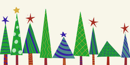 Seamless horizontal New Year pattern of stylized decorated Christmas trees. Vector holiday background for packaging, paper and textile products.