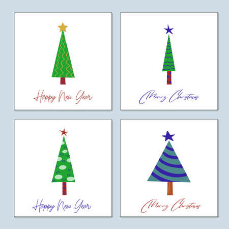 Set of greeting Christmas cards of stylized decorated Christmas trees. Vector hand drawn posters.