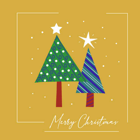 Greeting Christmas card of stylized decorated Christmas trees. Vector poster hand drawn.