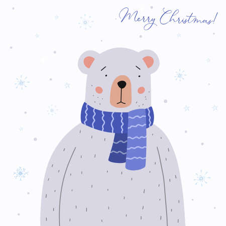 Merry Christmas greeting card. Cute teddy bear in a blue crocheted scarf. Holiday vector illustration.