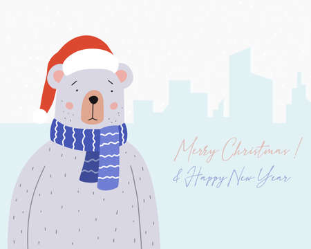 Merry Christmas greeting card. Cute bear in a blue scarf and Santa Claus hat. Holiday vector illustration.