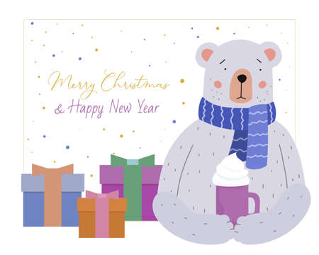 Merry Christmas greeting card. Cute teddy bear in blue crocheted scarf, mug of hot coffee. Nearby presents in decorated boxes. Holiday vector illustration.