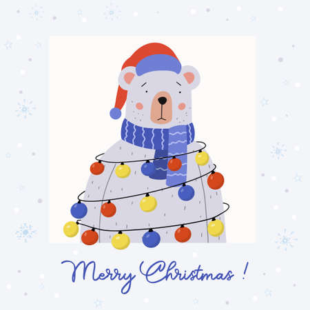 Merry Christmas greeting card. Cute bear wearing a blue scarf and Santa hat. He has garland with multicolored lights on it. Holiday vector illustration.