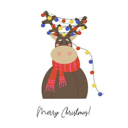 Merry Christmas greeting card. Cute reindeer in a red crocheted scarf. On the horns is a garland of multicolored lights. Holiday vector illustration. Ilustracja