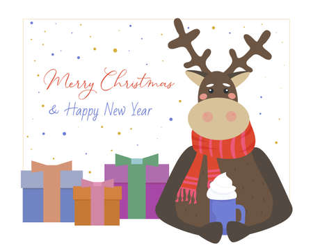Merry Christmas greeting card. Cute reindeer in a red crocheted scarf, mug of hot coffee. Nearby presents in decorated boxes. Holiday vector illustration. Ilustracja