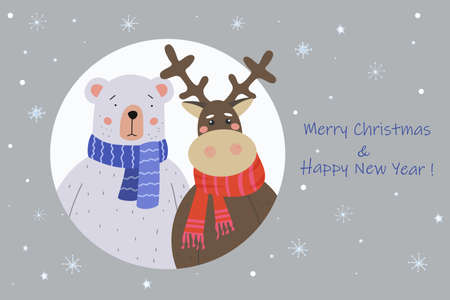 Merry Christmas greeting card. Cute Teddy Bear and Reindeer in a scarf came to visit. Holiday vector illustration Ilustracja