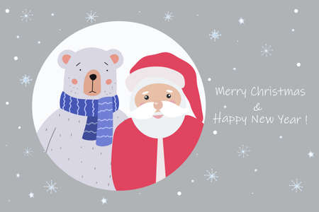 Merry Christmas greeting card. Cute Teddy Bear and Santa Claus come to visit. Holiday vector illustration.