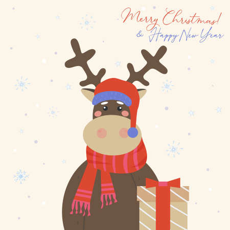 Merry Christmas greeting card. Cute reindeer in a red crocheted scarf and Santa Claus hat brought a gift. Holiday vector illustration
