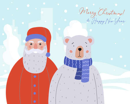 Merry Christmas greeting card. Cute Teddy Bear and Santa Claus in the background of winter forest. Holiday vector illustration.